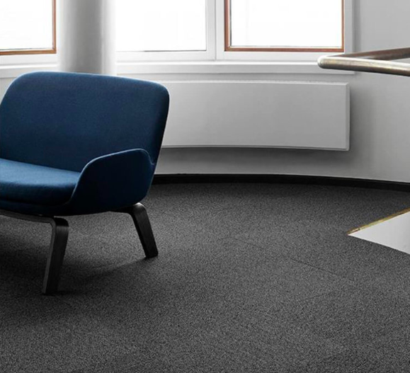 Grey carpet tiles from the Una concept by ege