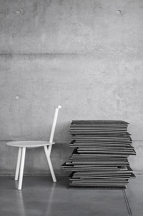 Stack of grey carpet tiles