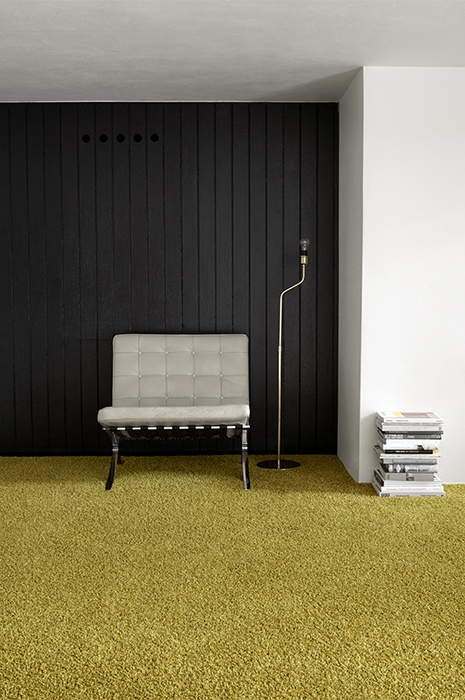 Yellow fluffy carpet in a minimalistic environment