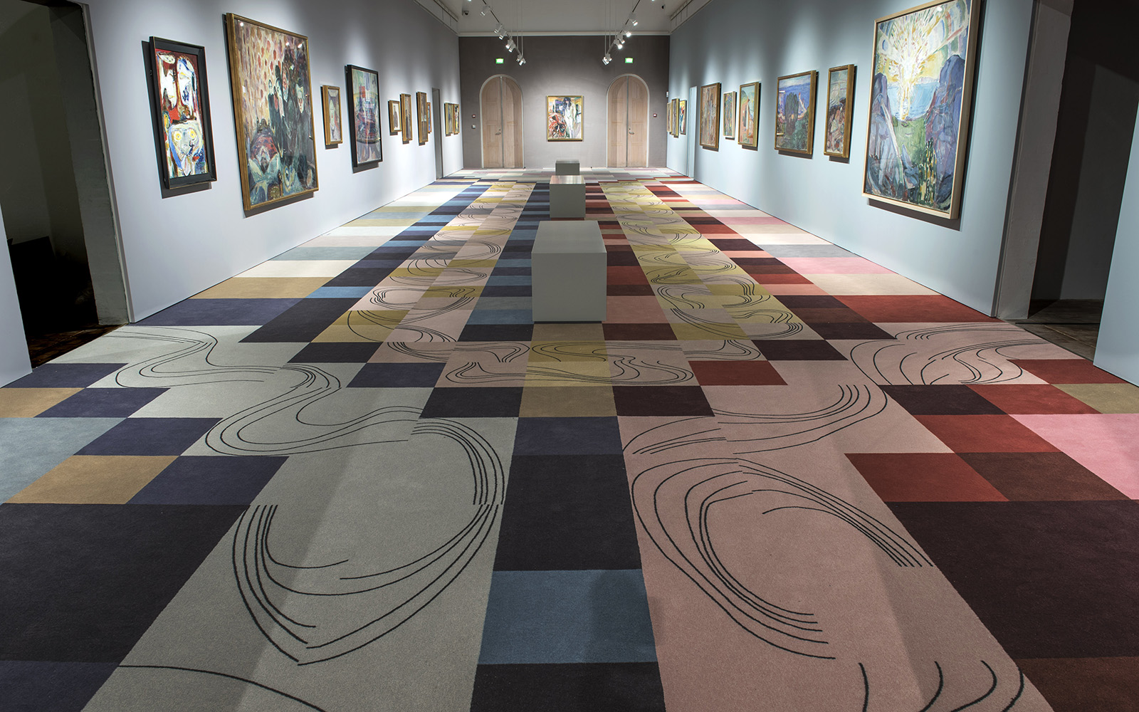 Multi coloured pattern carpet at the danish art museum Jorn in Silkeborg