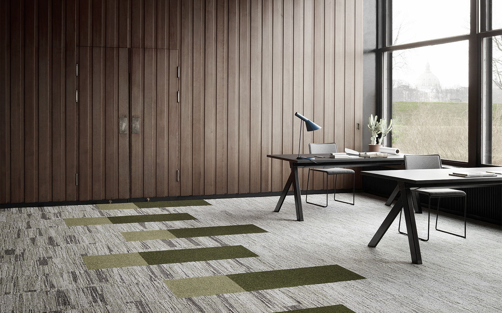 Sustainable carpet design in beige and green by ege