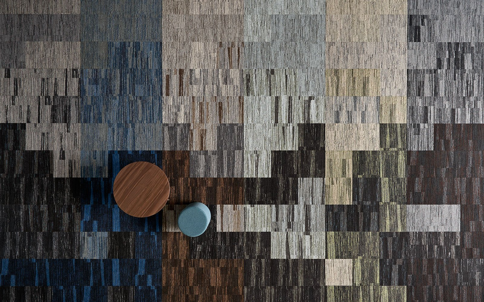 Wall-to-wall carpet from ege's Epoca concept in different shades of brown and blue