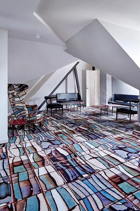 Creative carpet tiles by Tom Dixon at Brønnums Hus in Copenhagen, Denmark
