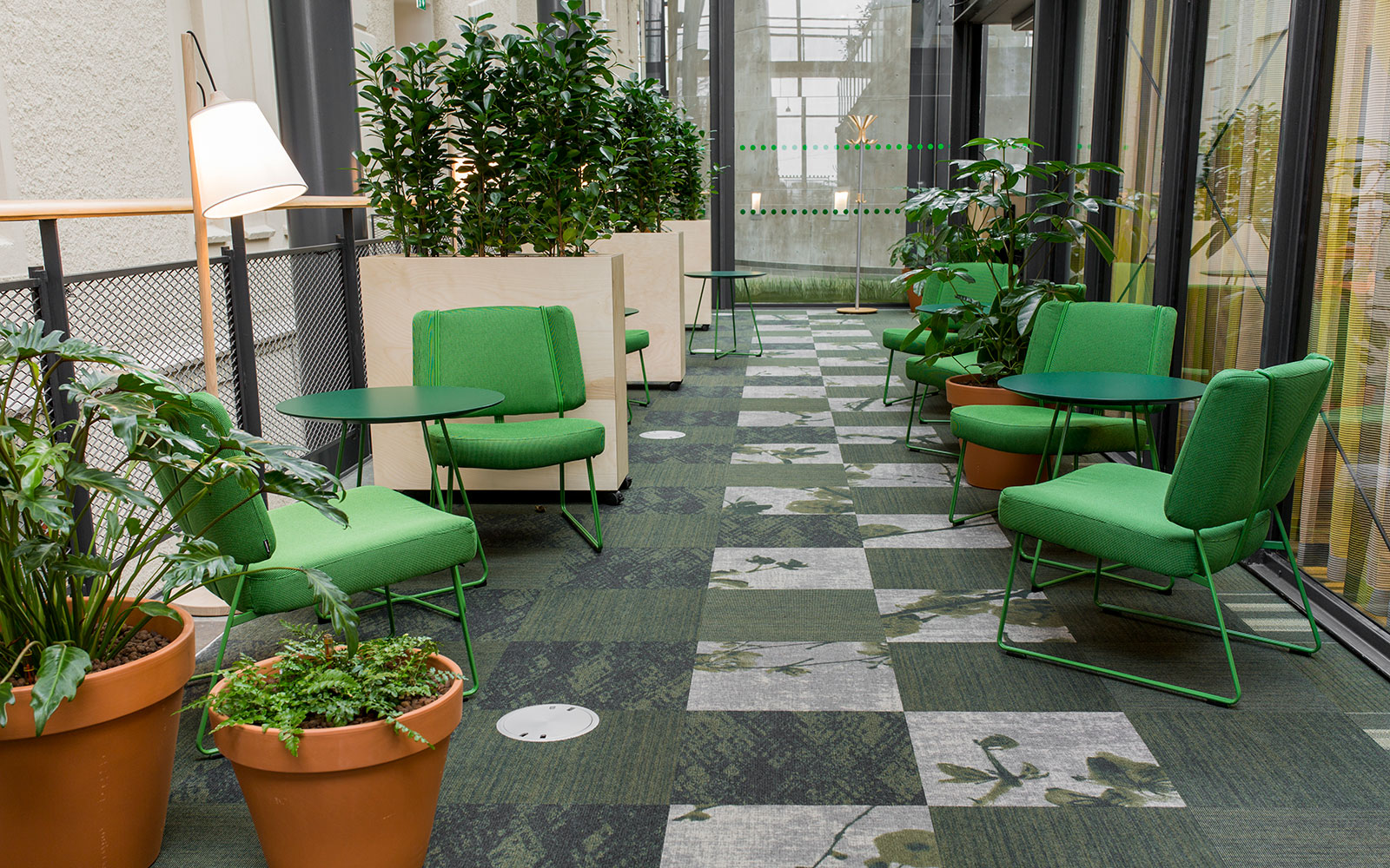 Environmentally friendly Rawline Scala Ecotrust carpet tiles by ege, checkered with green and beige patterns