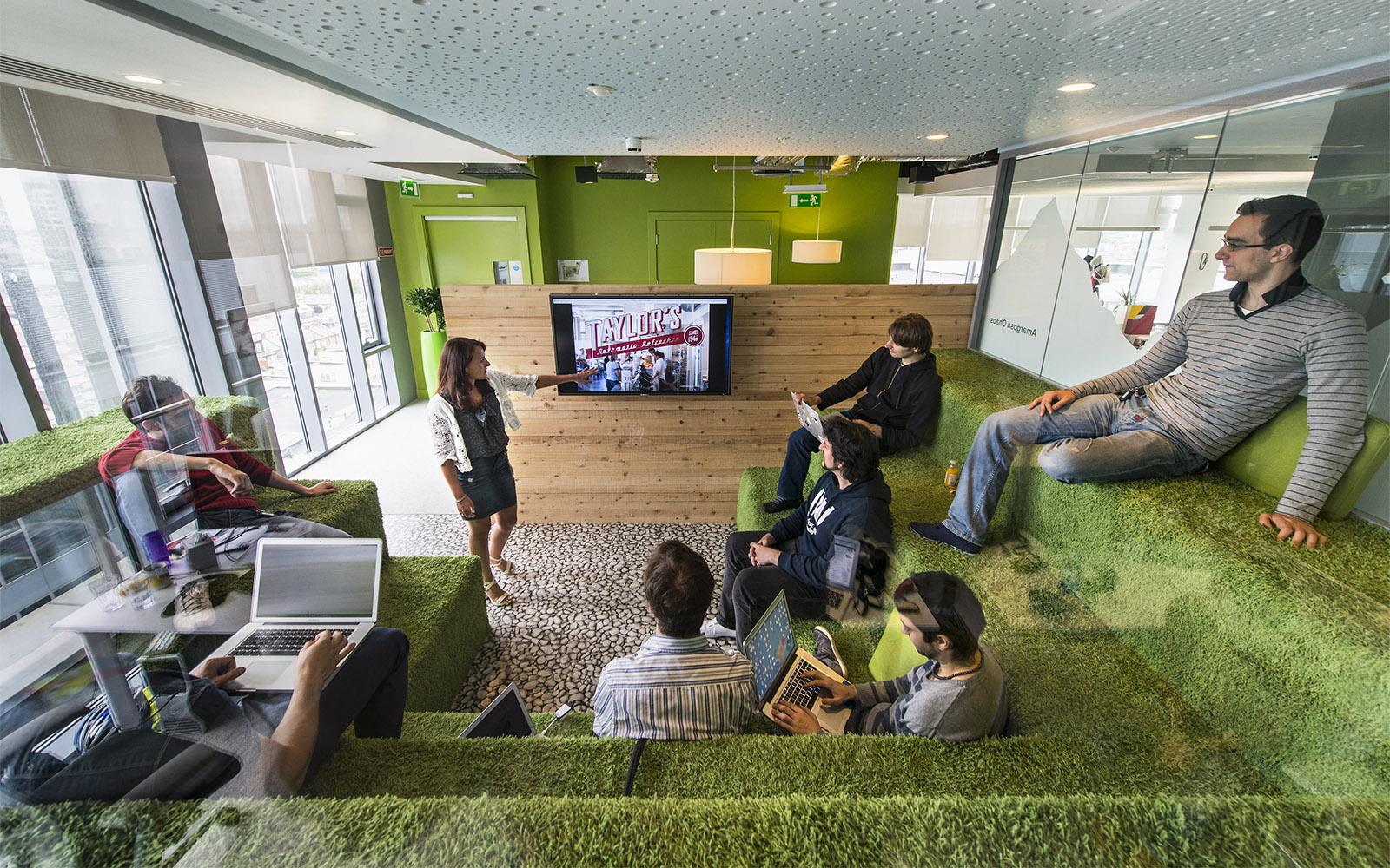 Bringing the outdoors in with green, grasslike carpet at Google's Headquarters in Dublin