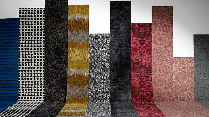 A row of carpet strips in different colour and patterns, showcasing wall-to-wall carpet from ege's arts-and-crafts collection