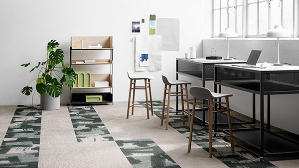 Environmentally friendly ReForm carpet carpet tiles in white and green pattern