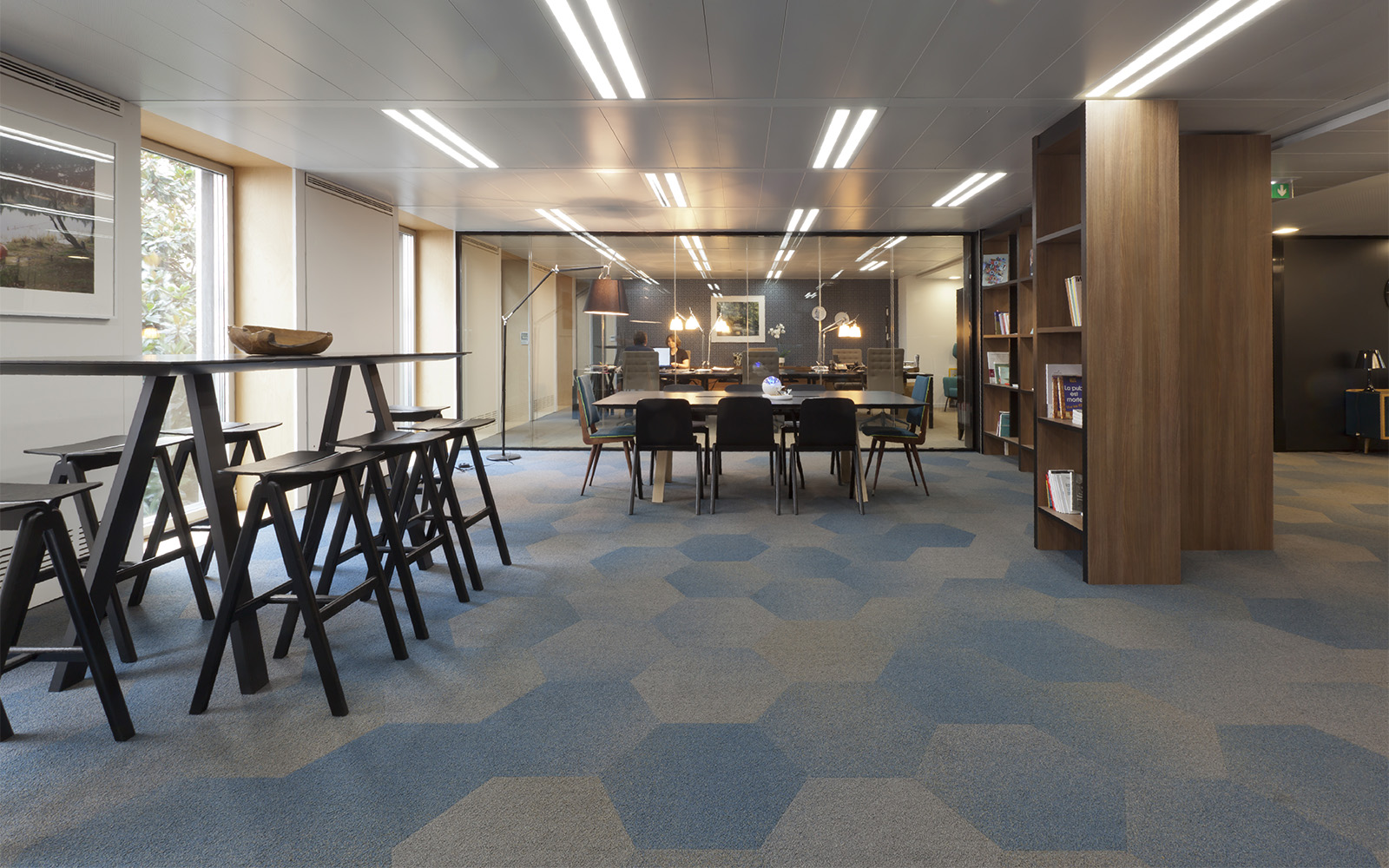hexagon-shaped blue and beige carpet tiles by ege