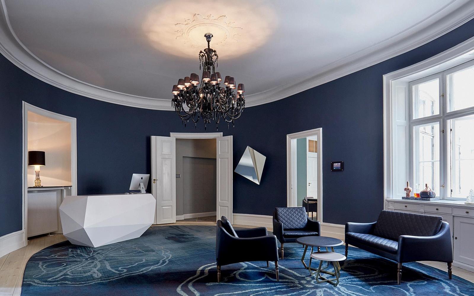 Blue Walls And Carpet At Brønnums Hus Office Club In Copenhagen